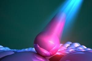 Eine schematische Darstellung von Quantenpunkten, die das von ihnen absorbierte Licht abstrahlen (Foto: Ella Marushchenko)