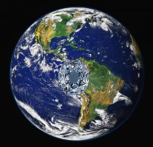 Westliche Hemisphäre (Bild: NASA) mit eingestanztem Diamanten