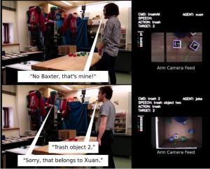 Mensch-Roboter-Interaktion. Oben: Roboter wird verbal mitten in der der Aktion angehalten, in der er Objekt 2 wegwirft. Unten: Nachdem der Roboter die Eigentumsbeziehungen und Aktionsberechtigungen durch Interaktion erlernt hat, verweigert er das Wegwerfen von Objekt 2. Bild: Tan, Brawer & Scassellati / Yale University.