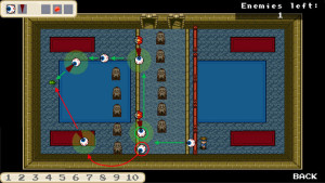 Lernende Agenten in einem Computerspiel. Das Training basiert auf maschinellem Lernen (Bild: RUB, Institut für Neuroinformatik).
