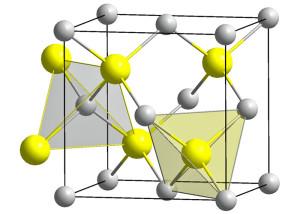 Kristallstruktur von GaAs. Bild: Public Domain.
