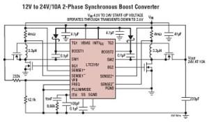Élévateur DC/DC synchrone 60 V, polyphase, à MOSFET-N