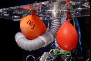 De fragiles ballons d'eau ont été utilisés lors des tests.