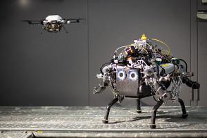 Le drone reconnaît le terrain avant que le robot ne le parcoure.