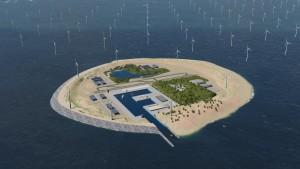 Image : Vue d'artiste de l'île artificielle de Dogger Bank. Avec l'aimable autorisation deTenneT.