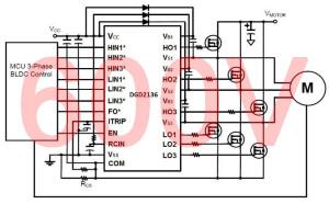 Circuit d'attaque 3 phases pour moteurs cc sans balais à partir de 3,3 V