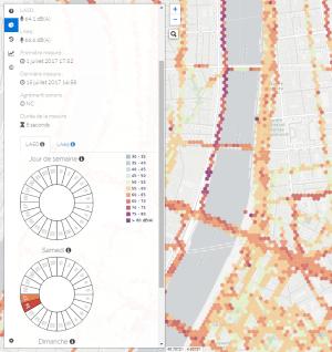 Copie d'écran de la cartographie collaborative accessible sur Noise-planet.org. Représentation cartographique des niveaux sonores moyens mesurés à Lyon. © CNRS-IFSTTAR