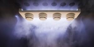 Proefbrandjes in de Siemens Rookbox