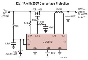 LTC4380: Geïntegreerde overspanningsbeveiliging