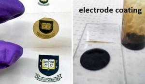 Links: de nieuwe coating op een objectglaasje; rechts: elektrode die met het materiaal is gecoat (Foto's: Yale University).