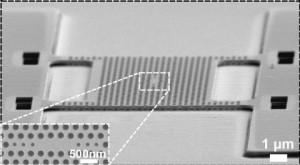 Een beeld gemaakt met elektronenmicroscoop van het geperforeerde membraan, met in het midden de 'photonic crystal cavity' (de onderbreking van het gaatjespatroon). Linksonder een detail van deze 'lichtval'. (Foto: TU Eindhoven.)