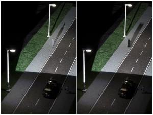 Camouflage-effect Links: koplampen zorgen dat de persoon net zo licht is als de omgeving en onzichtbaar wordt. Rechts: koplampen schijnen niet op voetganger en zodat er meer contrast is tussen de omgeving en de voetganger.