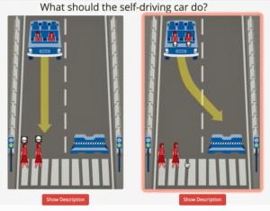 Moreel dilemma voor een autonome auto. Afbeelding: mit.edu
