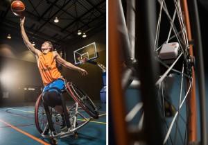 Linker foto: Bo Kramer, rolstoelbasketbalster van TeamNL (foto's: marchollander.nl).
