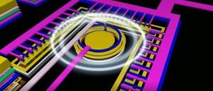Artists impression van de optocoupler op de chip (afbeelding: Universiteit Twente).