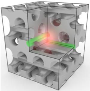 Artists impression van een fotonische nanocavity (afbeelding: Universiteit Twente).