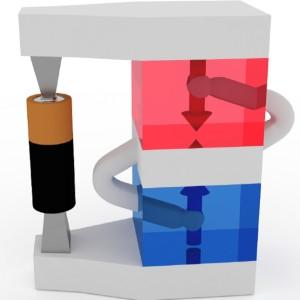 De magnetisatie van twee ferromagnetische lagen (rood en blauw) verandert door de onderlinge interactie. In plaats van antiparallel staan de spins loodrecht op elkaar (afbeelding: Reinoud Lavrijsen, TU/e).