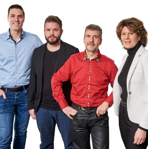 V.l.n.r. Justin Mouthaan, Dave Verheij,Joaquín Payá Sánchez en Manita Boeter