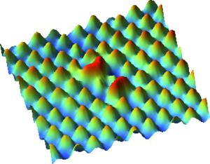 De roodgekleude pieken zijn kobalt-atomen. Afbeelding: Princeton University.