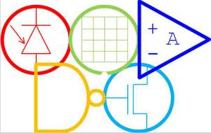 Het Elektroniade-logo lijkt op het Olympische logo (weet u welke 'elektronische' onderdelen hier worden uitgebeeld?)