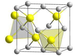 De kristalstructuur van GaAs (afbeelding: Public Domain).