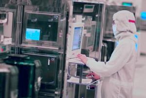 """Vervaardiging van een 12""""-wafer bij TSMC. Foto: TSMC."""