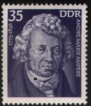 Ampère on an Eastern Germany stamp