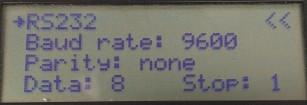 Platino Serial Bus Tester RS232 menu