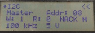Platino Serial Bus Tester I2C menu