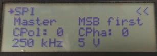 Platino Serial Bus Tester SPI menu