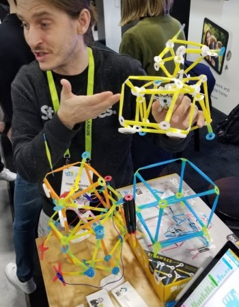 Erik Thorstensson presenting Strawbees at CES 2019