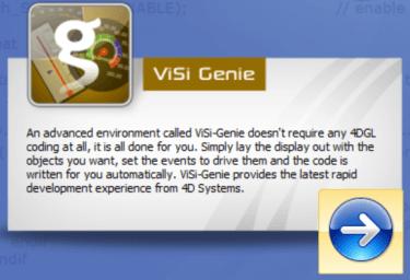 Workshop4 IDE ViSi-Genie start button