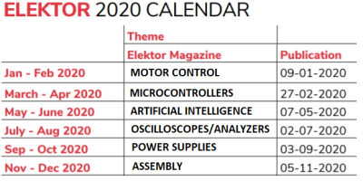 Elektor 2020 editorial calendar