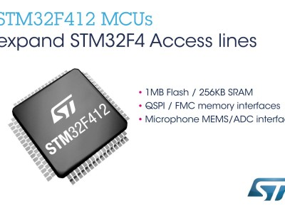 STMicroelectronics Enhances Access Lines of STM32F4 High-Performance Microcontroller Series
