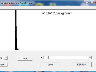VB Spectrum software showing the normal background radiation noise.