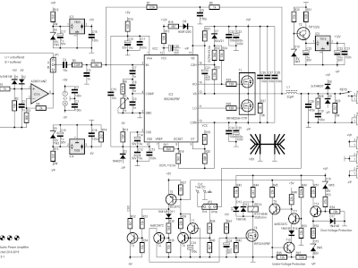 Schematic of 200W Class-D Audio Power Amplifier 150115-1 v2.1