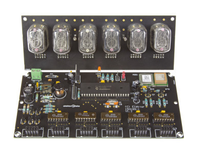 Nixie clock on black PCB