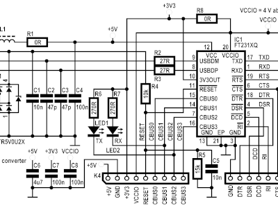 Schematic of the USB-RS232 converter 180537-1 v1.0