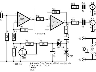 Schematic of Automatic Gain Control with diode cascade v1.0