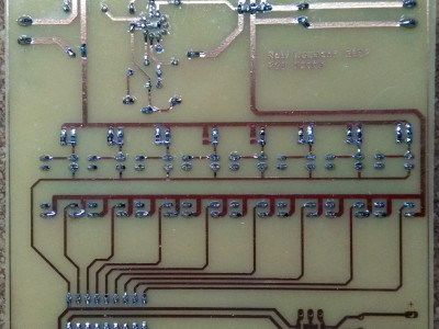 Bottom view, soldered PCB