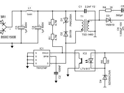 2,5 Watt - Out 5 VDC @ 500 mA max.