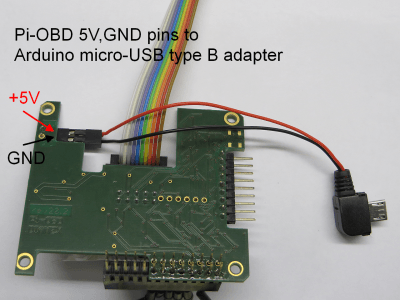 Arduino micro-USB-type-B-adapter connected to Pi-OBD module