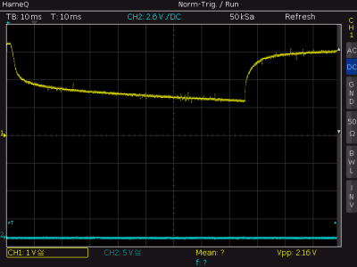 Example: Discharge of a LithIo Battery, stopping the discharge at about 3.3 V and recovery.