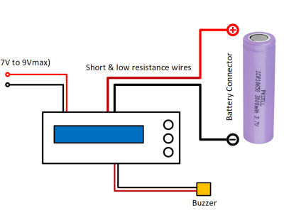 Wiring of the battery capacity measurement device