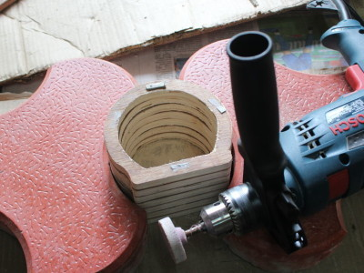 Sanding inside surface with a snading wheel