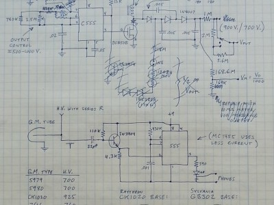 Rough schematic for the Geiger tube power supply.