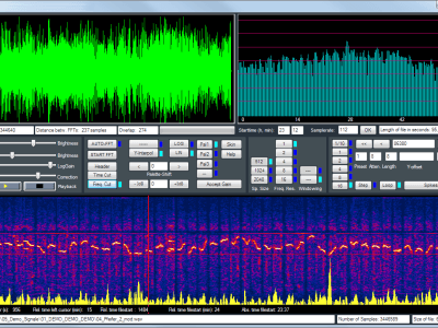 Bild1: Bedienoberfläche mit Zeitsignal, Spektrum und Spektrum über der Zeit (mit Frequency Cut Option)