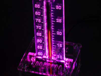 With transparent enclosure, purple scale backlighting