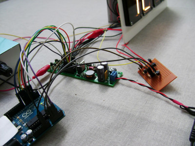 Detail of the electronics of the test setup