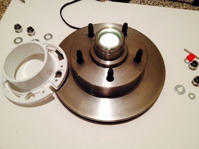 This image shows what the brake rotor looks like before adding the PVC section.